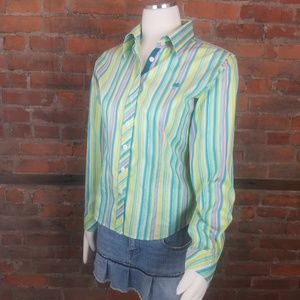 Lilly Pulitzer Women's Blouse Green Pink Yellow